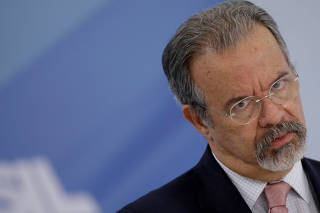 Brazil's Public Security Minister Raul Jungmann reacts during a news conference in Brasilia
