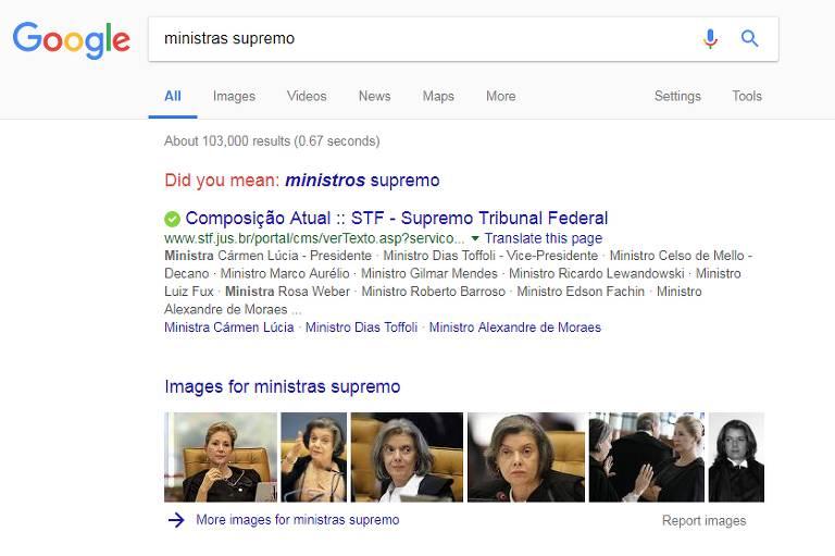 Busca no Google por 'ministras supremo' sugere que a pesquisa seja feita no masculino
