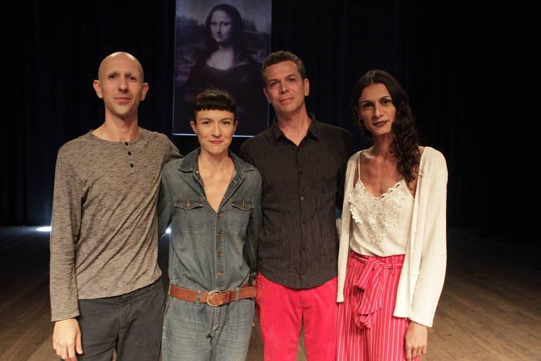 """Elenco de """"Domínio Público"""": Maikon K (esq), Elisabete Finger, Wagner Schwartz e Renata Carvalho"""