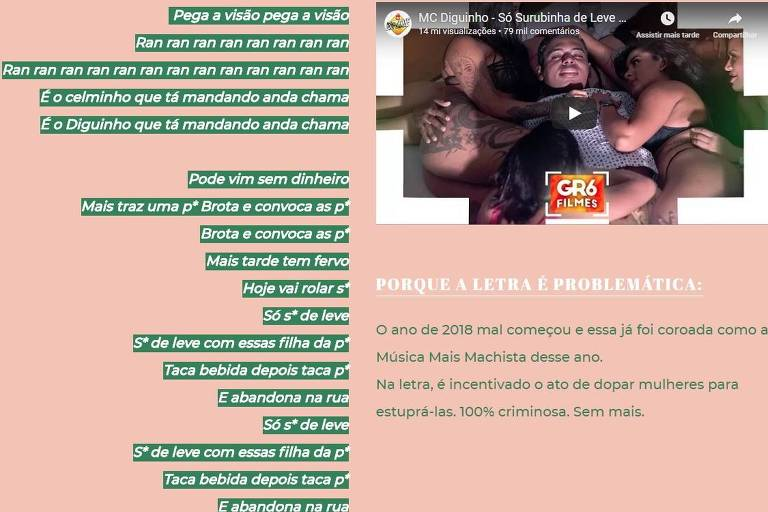 """Análise de """"Só Surubinha de Leve"""", de MC Diguinho, no projeto Música Machista Popular Brasileira"""