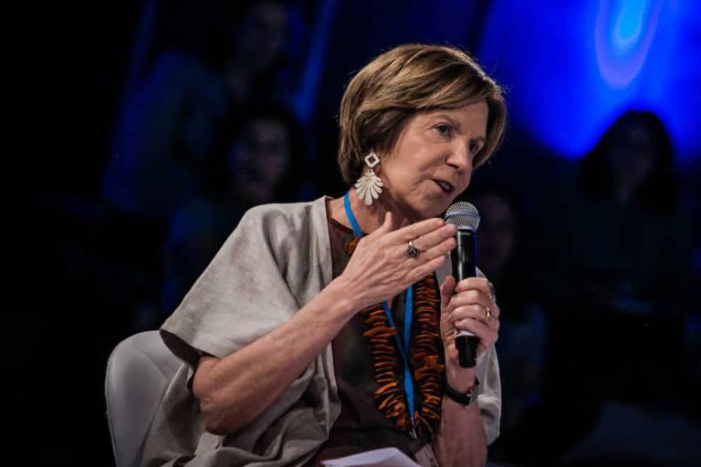 Maria Alice Setubal fala durante fórum promovido pela Folha, em novembro de 2016