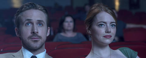 This image released by Lionsgate shows Ryan Gosling, left, and Emma Stone in a scene from,
