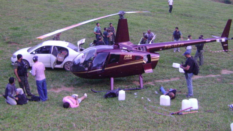 Helicóptero do ex-deputado estadual Gustavo Perrella, flagrado pela Polícia Federal com drogas, em Vitória (ES)