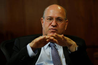 Brazil's Central Bank President Ilan Goldfajn gestures during an interview with Reuters in Brasilia