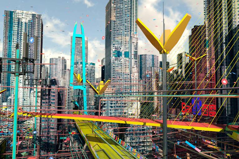 Projeto de cidade do futuro mostra arranha-céus, pontes e painéis
