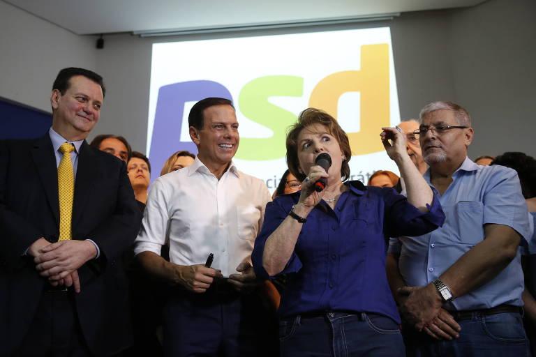 O ministro Gilberto Kassab, o ex-prefeito João Doria e a ex-vice-prefeita Alda Marco Antônio durante evento que oficializou apoio do PSD à candidatura do tucano