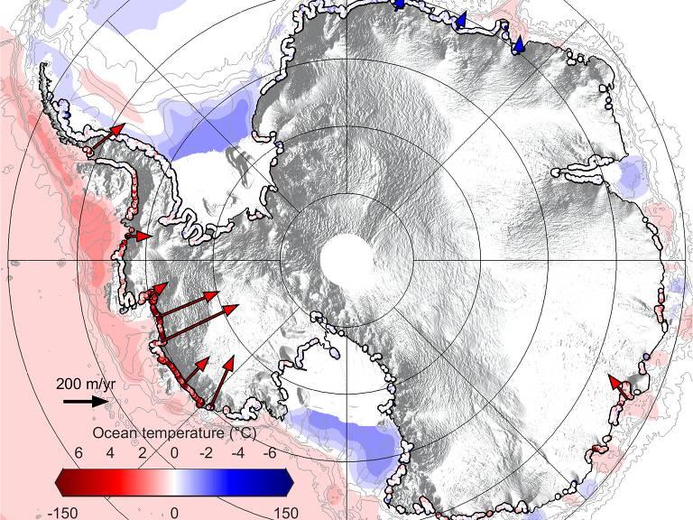 Mapa mostrando o sentido de migração das linhas de solo e as condições térmicas do mar