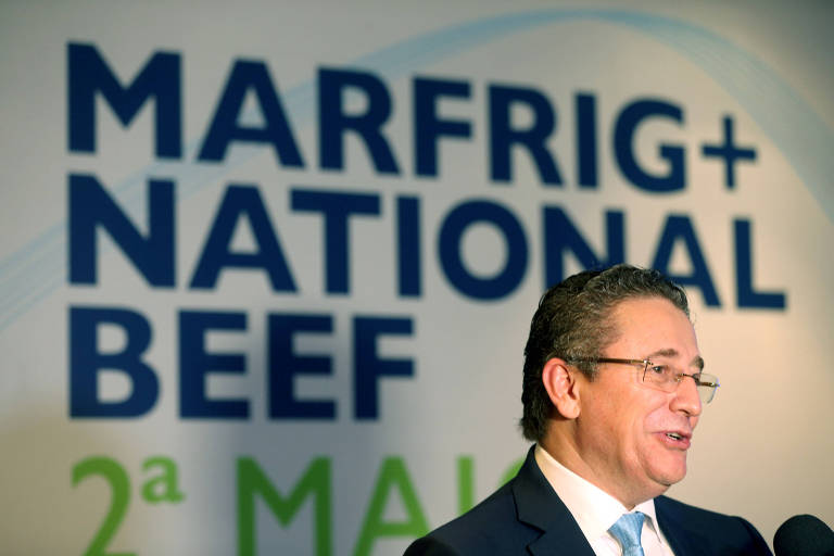Eduardo Miron, presidente da Marfrig em uma conferência em São Paulo