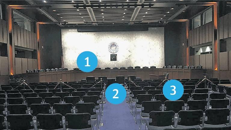 Sala onde aparecem cadeiras pretas de escritório perfiladas à direita e à esquerda com um corredor com um carpete azul no meio; ao fundo dele, uma mesa para o depoente, que fica de frente a uma mesa com mais de dez cadeiras