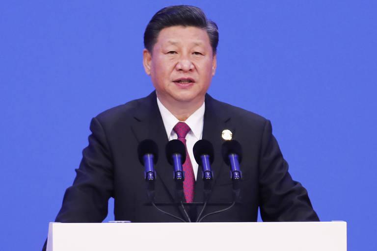 O presidente da China, Xi Jinping, fala em conferência em Boao, na China