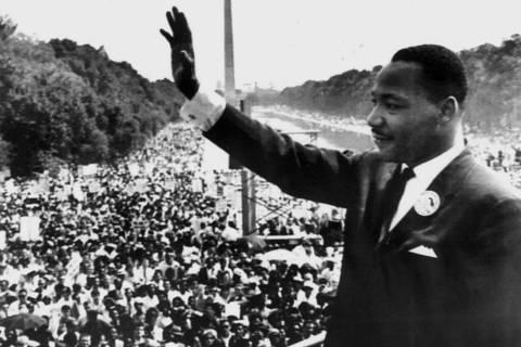 ORG XMIT: 200401_0.tif O líder negro Martin Luther King Jr. durante seu famoso discurso