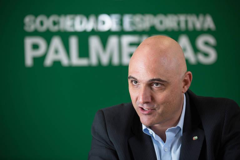 O presidente do Palmeiras, Mauricio Galiotte, na sede social do Clube, em Perdizes