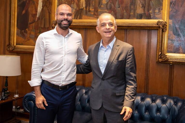 O governador do Estado de São Paulo, Márcio França (PSB), durante encontro com o prefeito de São Paulo, Bruno Covas (PSDB)