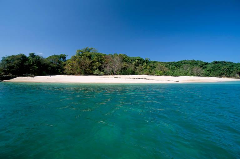 Mar verde escuro, com trecho de areia branca, árvores e céu azul