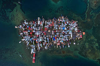 Vista aérea da Ilha Carti Sugdub, na Comarca Guna Yala, no Panamá