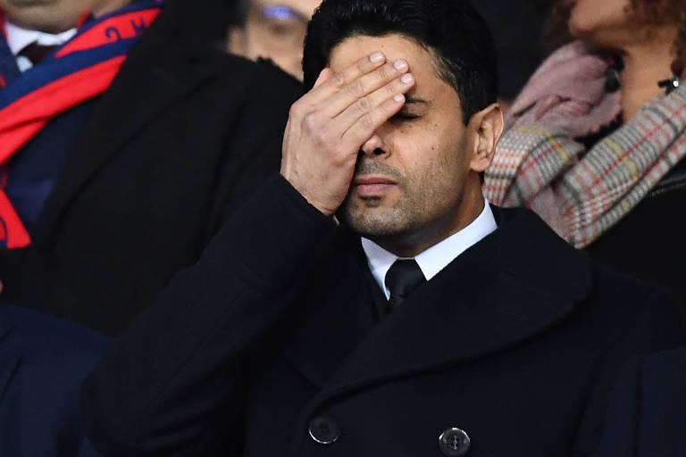 Nasser Al-Khelaifi, presidente do PSG, durante a derrota de sua equipe para Real Madrid, na Liga dos Campeões