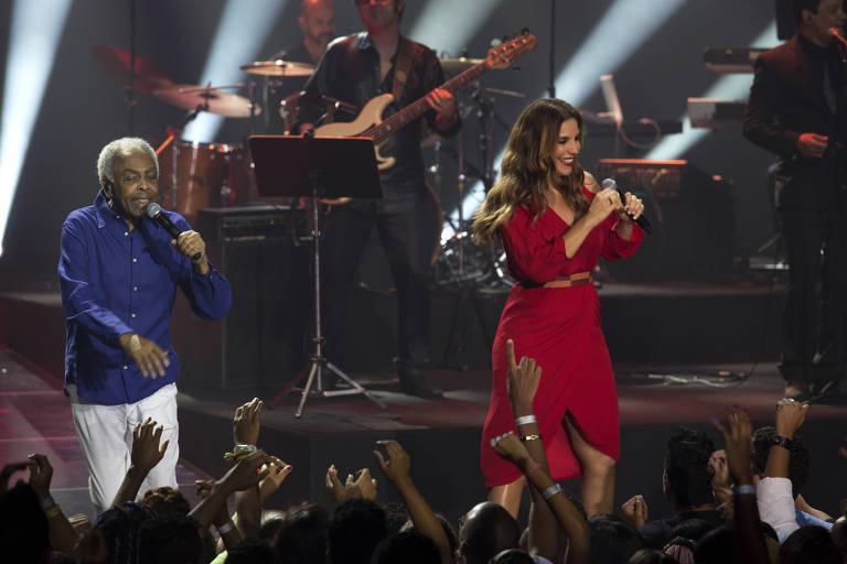 Os cantores Gilberto Gil e Ivete Sangalo