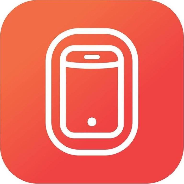 Logo do aplicativo Inflighto tem formato quadrado com as pontas arredondadas. No centro, há o contorno em branco de um desenho de um smartphone. Toda a figura está pintada de um degradê de vermelho e laranja