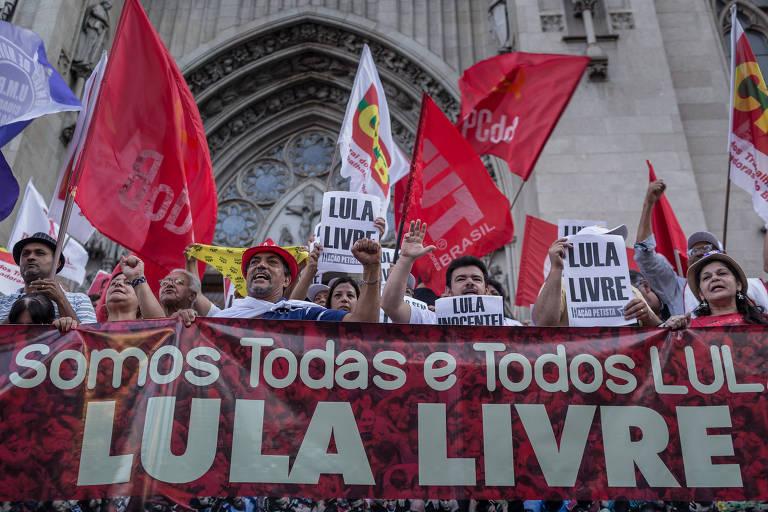Protesto em apoio ao ex-presidente Lula