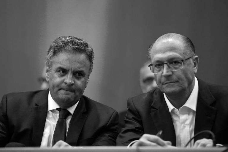 O senador Aécio Neves e o ex-governador de São Paulo Geraldo Alckmin, em evento promovido pelo PSDB, em Brasília, em novembro de 2016