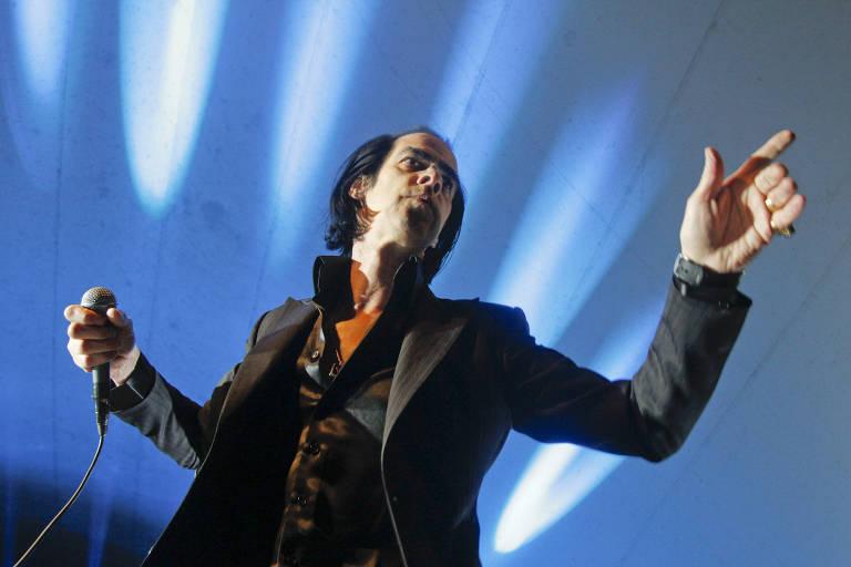 O cantor australiano Nick Cave com sua banda Bad Seeds durante o festival SXSW