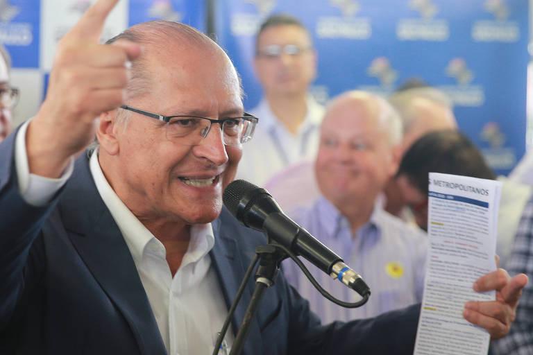Ex-governador de São Paulo Geraldo Alckmin durante inauguração de estação do monotrilho
