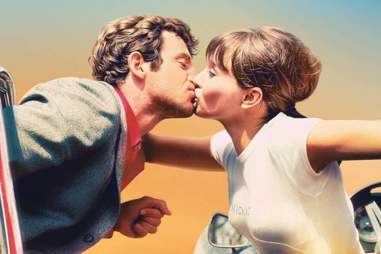 """Pôster da edição de 2018 do Festival de Cannes com Jean-Paul Belmondo e Anna Karina, em cena do filme """"O Demônio das Onze Horas"""", de Jean-Luc Godard"""