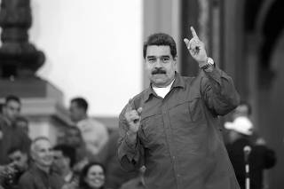 Venezuela's President Nicolas Maduro gestures during a rally with supporters in Caracas