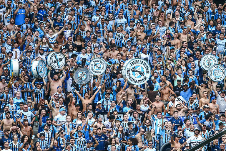 Torcida do Grêmio no jogo com o Brasil de Pelotas, pelo Campeonato Gaúcho de 2018