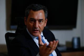 O ministro da Fazenda,  Eduardo Guardia, durante entrevista exclusiva à Folha