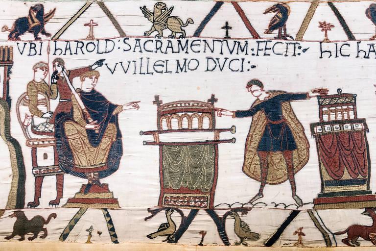Pintura do século 11 mostra comportamento durante o feudalismo.