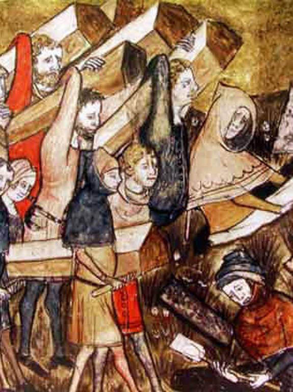 Ilustração de enterro das vítimas da peste negra