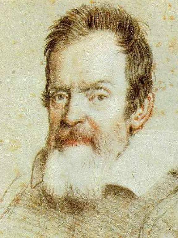 Desenho de retrato de Galileu Galilei