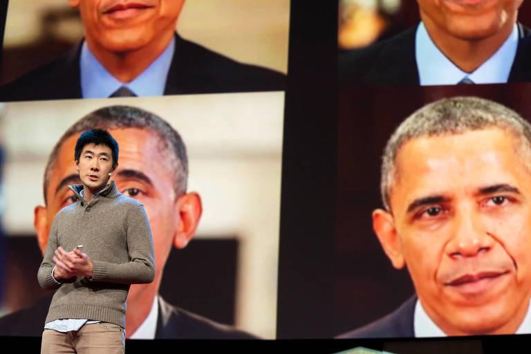 Supasorn Suwajanakorn mostra vídeos fake com o ex-presidente dos EUA Barack Obama