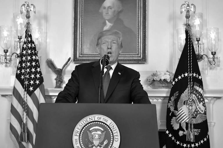 O presidente dos Estados Unidos, Donald Trump, faz pronunciamento sobre a Síria na Casa Branca