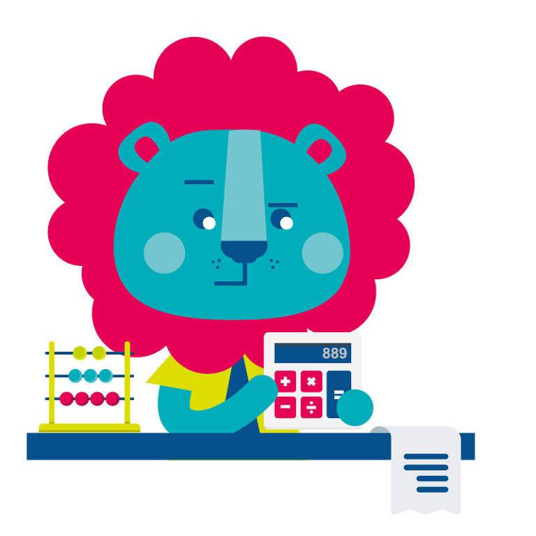 Ilustração de um leão com um ábaco, uma calculadora e uma folha de papel