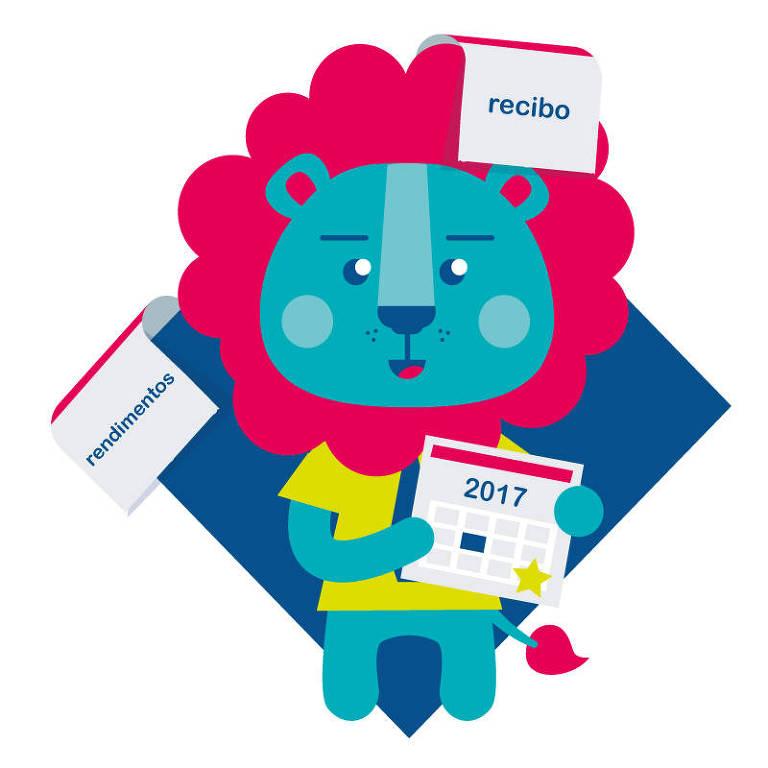 Ilustração de um leão com informes de rendimentos, recibos e materiais de 2017 para declarar o IR