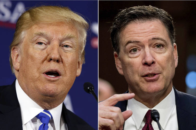 O presidente dos EUA, Donald Trump, e o ex-diretor do FBI James Comey