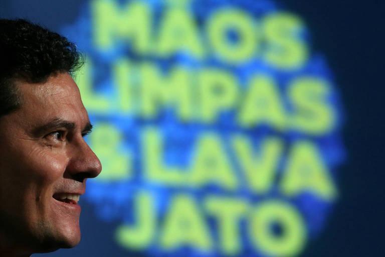 O então juiz Sergio Moro durante fórum sobre as operações Mãos Limpas e Lava Jato