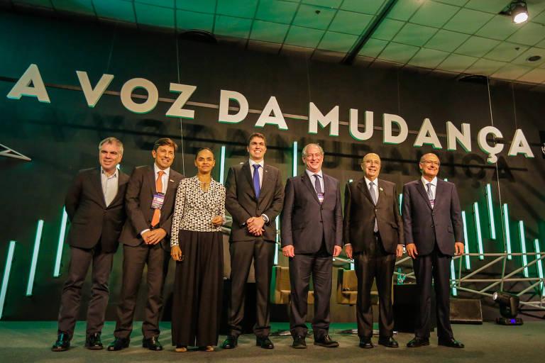 Flavio Rocha, João Amoedo, Marina Silva, Julio Bratz Lamb, Ciro Gomes, Fernando Meirelles e Geraldo Alckmin no encontro de presidenciáveis em Porto Alegre