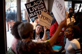 Interfaith clergy leaders stage a sit-in at the Center City Starbucks, where two black men were arrested, in Philadelphia,