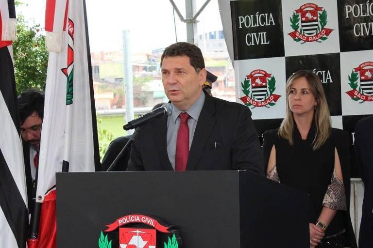 Youssef Abou Chahin durante inauguração de delegacia no interior de SP