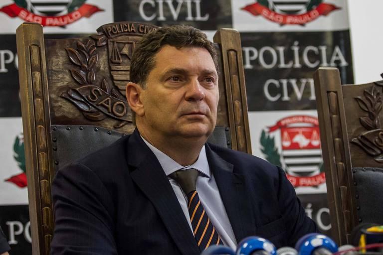 Delegado-geral da Polícia Civil, Youssef Abou Chahin, em entrevista coletiva no DHPP (Departamento de Homicídios e Proteção à Pessoa)