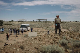 Tourists visit the former atomic-weapons test site at Maralinga, Australia.