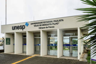 Fachada da Unesp (Universidade Estadual Paulista) '' Júlio de Mesquita Filho'',  no campus de Franca