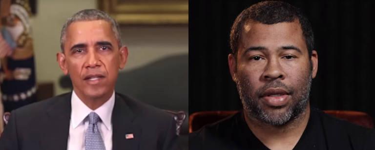 Cena de vídeo do diretor Jordan Peele, que manipulou imagens e sons da voz de Barack Obama para denunciar notícias falsas