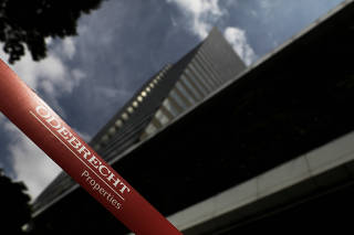 Corporate logo of the Odebrecht SA construction conglomerate is pictured at its headquarters in Sao Paulo