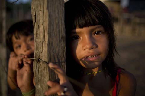2015-09-03. Terra Indigena Alto Turiassu, Maranhao. Indigenas na aldeia Ze Gurupi.ÊOs Kaapor tem retomado seu territorio autonomamente frente a omissao da Funai e Ibama.  Area e alvo de desmatamento ilegal e violencia de invasores. O conflito com os indios ja vem ha mais de 25 anos.  (Foto: Isadora Brant/PODER)***EXCLUSIVO FOLHA***FSP***