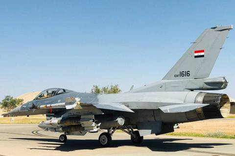 A handout picture provided by the Iraqi Air Force on April 19, 2018 shows a F16 fighter jet at un undisclosed location in Iraq.  The Iraqi air force on April 19, 2018 carried out a