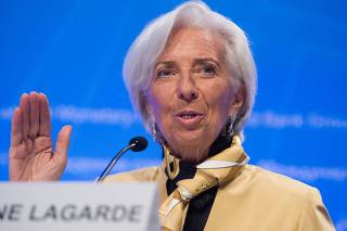 International Monetary Fund managing director Christine Lagarde holds press briefing